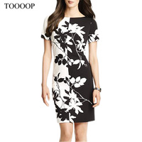 2014 spring and summer women dress  party  black and white color block patchwork leaves print elegant short-sleeve dress slim
