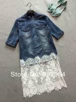 2014 summer new women denim stitching lace blouse
