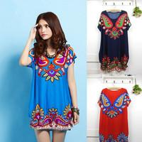 New 2014 Fashion Women Dress Hot Selling Novelty Print Dress Autumn-Summer High Street Vintage Ice Silk Dress 2-Color Sale