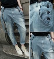 Spring lovers all-match roll up hem slim fashion bib pants stripe jeans hanging crotch pants male