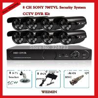 Home 700TVL sony  8CH CCTV Security Camera System 8CH DVR 700TVL Outdoor Day Night IR Camera Kit Color Video Surveillance System