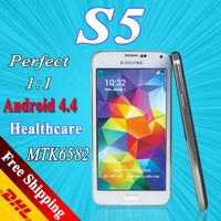2014 S5 phone i9600 phone G900F Android phone MTK6582 Quad Core phone 4.4.2 OS 1GB RAM Original Logo wifi GPS call phones