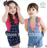 Free shipping wholesale girls denim suspenders shorts, heart-shaped pattern,100-140cm ,5pcs/lot