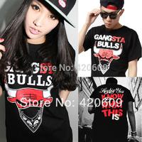 Spoof Bulls Free Ship Men Hip Hip T Shirt Short Sleeve Cotton Hiphop Tees Man Street T-Shirt Couple Tops