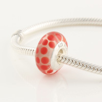 49150 accessories diy beads silver red dot 925 pure silver colored glaze bead silver beads