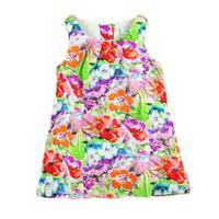 Flower Painting girl dresses new fashion 2014 100% cotton baby girl dress floral dresses children clothing girl dresses