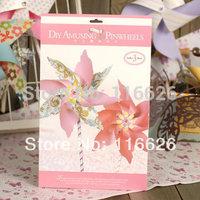 DIY Flower Delicate paper Pinwheels Kit of 3pcs kids handmade paper gift make w/scrapbook paper and ribbon