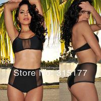 Free shipping Black High-waisted Mesh Accent Bikini 2014 Newest Sexy Swimwear Wholesale 10pcs/lot Summer swimsuit 40688