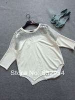2014 summer new women lace stitching irregular hem loose cotton T-shirt