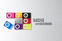 Free Shipping, MINI Flash Gift Clip MP3 Music Player Control 8 color,Support  Micro SD/TF Card 200pcs/lot