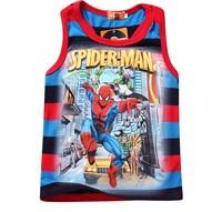 2014 New Arrival Summer 100% Cotton Fashion Cartoon Print Spiderman Tank Boy Clothing,Kid Sleeveless Vest,Child Top Clothes 5493