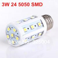 3W E27 24 5050 SMD 430LM Corn Bulb AC 200V~240V LED Corn Lamp Lighting Free shipping