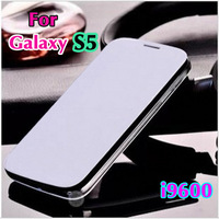 Slim Shockproof Original Leather Case Back Flip Cover Battery Housing Holster For Samsung Galaxy S5 I9600 + Screen Protector