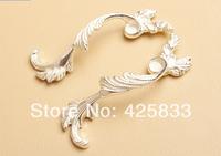 5pair Ivory Zinc Alloy European Silver Ivory White Handle Cupboard Door Drawer Cabinet Handles Knobs Cabinet Ceramic Kitchen