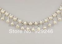 free shipping 1 yard 2.5cm dangle tassel ABSpearl clear crystal Rhinestone chain trims curtain hairband dress costume decoration