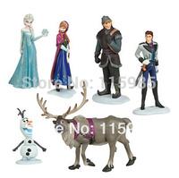 6pcs/set Frozen Figure Play Set Anna Elsa Hans Kristoff Sven Olaf classic toys Action Toy Figures kids gift free shipping