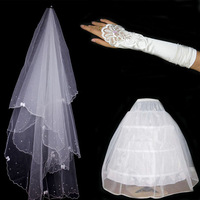 Free shipping 2014 new arrive The bride wedding accessories wedding dress piece set wedding dress piece set veil pannier gloves