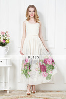 Casual Elegant Cute Women Print Maxi Dress Chiffon Vintage Ladies Slim Party Evening Long Dress Sundress 2014 New Fashion Summer