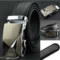 HOT Fashion MEN'S Genuine Leather Waist Strap Belts Automatic Buckle Black free shipping