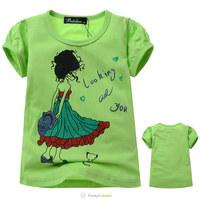 Free Shipping 2014 Girls Green Fashion T Shirt Children Beautiful Girl Pattern Cotton T-Shirt Kids Summer Wear Clothes 5 Pcs/Lot