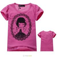 Free Shipping Next Girls Rose Red Short Sleeve T-Shirt Children Classic Girl Pattern Tee Shirt Kids Summer O-Neck Cotton Clothes