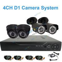 DIY Camera system 700tvl dvr kit CCTV system with 2pcs indoor camera and 2pcs outdoor camera 4CH D1 DVR camera kit