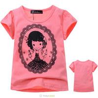 Free Shipping 2014 New Girls Fashion Watermelon Red Short Sleeve Kids Cartoon Cotton Beautiful Girl Printed Tee Shirt 5 Pcs/Lot