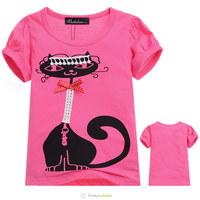 Free Shipping New Girls Rose Red 100% Cotton Brand Short Sleeve T Shirt Kids Fashion Classic Cat Pattern Tee Shirts 5 Pcs/Lot