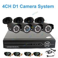 CCTV 4CH H.264 Full D1 realtime record Standalone Network DVR 4pcs 700tvl cctv camea kit VIdeo System