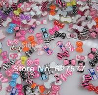 100pcs Nail Art 3D Bow Tie Beads Resin Nail Art Tips Decoration Mixed Colors & Designs
