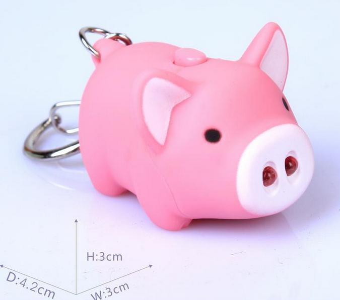 2014 models cute little pig luminous voice Keyring 12 zodiac pig farm