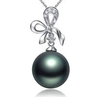 S925 pure silver necklace female black pearl pendant short design jewelry fashion silver jewelry