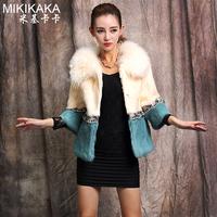 2014 rabbit fur coat short design luxury full leather female wool collar color block P