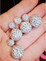 Women Luxury Rhinestone 2 Ball Ear Cuff Earrings 2014  European Hot Silver
