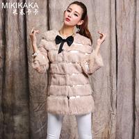Rabbit fur outerwear 2014 medium-long women's slim winter Y8AP0
