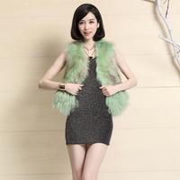 2014 new raccoon fur vest short design slim sheep sweater vest fur TP2