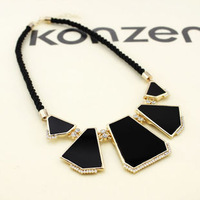 Accessories fashion rope necklace rhinestone geometry necklace short design chain female
