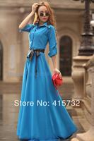 Free Shipping 2014 Customized Fashion Spring Autumn Bohemia Long Maxi Shirt Dress Beach Floor Length Long Sleeve Dress With Belt