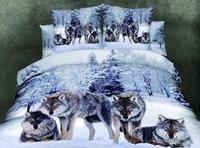 wolf luxury gift man bedding set  Quilt duvet comforter cover bed sheet 100% cotton horse bed set 4pcs Polar Bear bedclothes