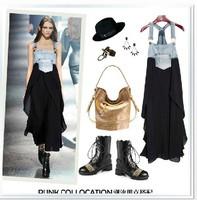 HOT sale! New 2014 spring and summer  denim dress women's slim patchwork chiffon dress vest long dress