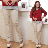 End of a single ol plus size mm elastic casual light color khaki trousers