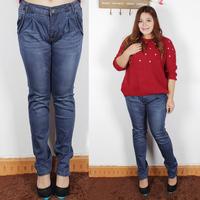Plus size clothing plus size mm elastic jeans fashion harem pants high waist straight