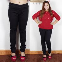 Fashion plus size mm fashion skinny jeans pencil pants black pants elastic 38