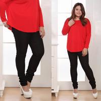 Fashion plus size mm Women jeans trousers casual elastic pants