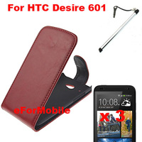 Mobile Phone Leather CASE Flip Cover + Screen Protector +Pen For HTC Zara HTC601