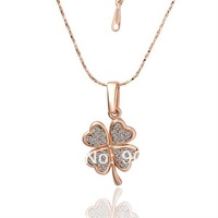 18K Rose Gold Plated Necklaces ! Luxury Women Men Link Chain With White Crystal Lover's Four Leaf Clover Pendant Necklace N001