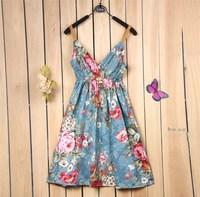 2014 Summer Women Dress Bohemian Waist V-Neck Suspender Dress  Free Shipping