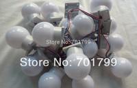 60mm diamter full color UCS1903 globe type pixel light;DC24V input;1.44W(6pcs 5050 SMD RGB inside);white base;40pcs a string