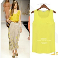 2014 Fashion Ladies' Sexy Candy Colors Sleeveless Chiffon Shirts O-neck Blouse Casual Quality Brand Designer Tops Free Shipping