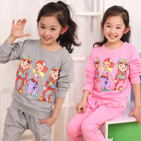 Spring 2014 new Korean children's clothing cartoon printed two-piece track suit quality children's clothing for girls
